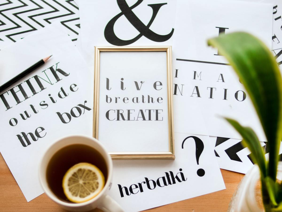 live, breathe, create in gold frame